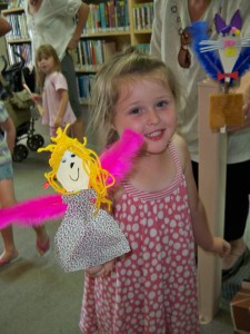 Maddison with her friendly spoon puppet